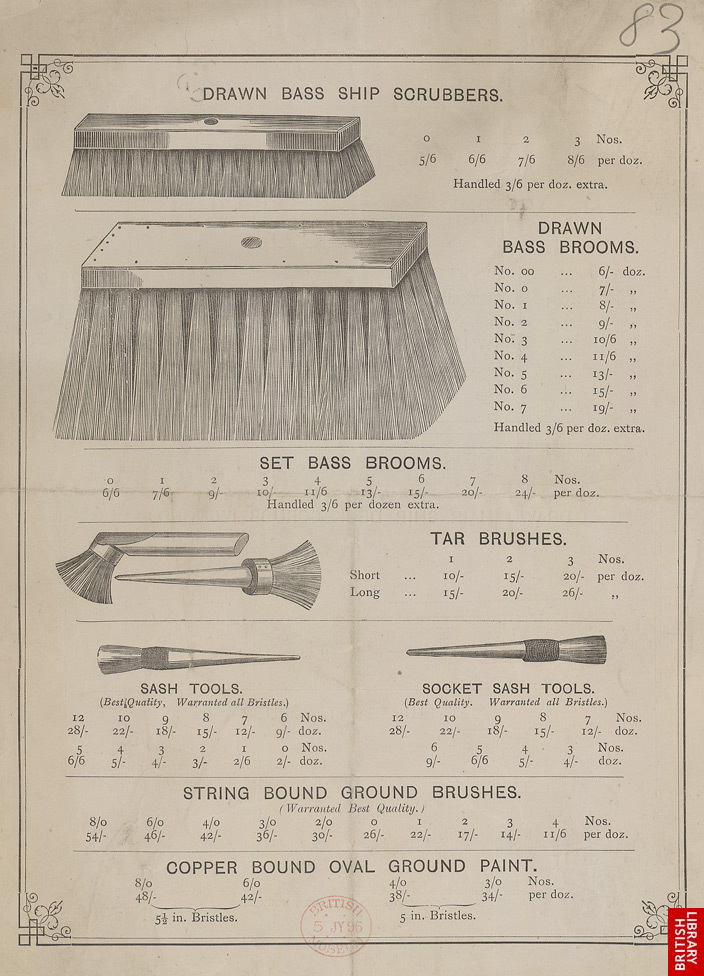 Advert for WB Hovell, brushes & brooms